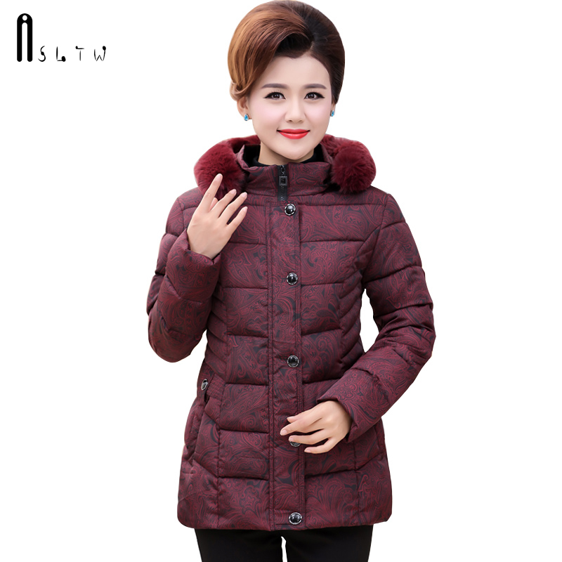 ASLTW Winter Jacket Women New Arrive Plus Size Long Sleeve Coat With Fur Hooded Print Parka