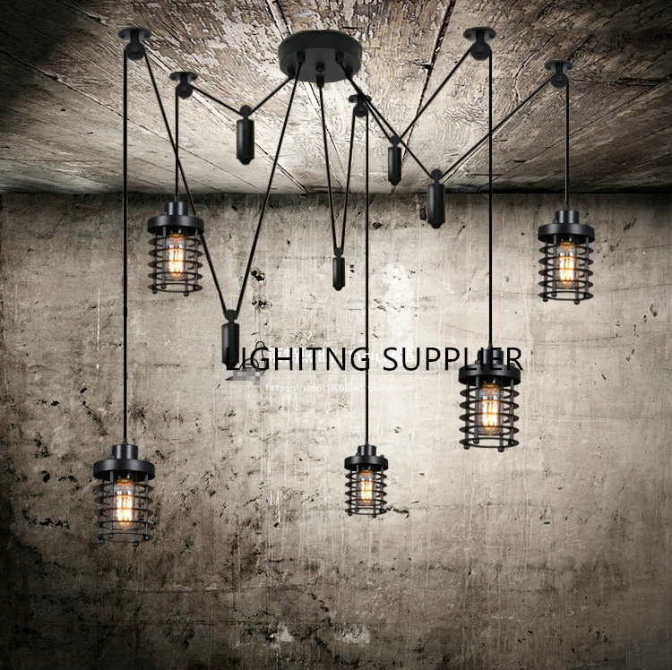 Vintage Spider Feet Iron Pendant Lights E27 Lamp Holder 110-240V Coffee House/Dining Hall/Club/Restaurant Lighting Free Shipping vintage iron cage glass indoor pendant lights e27 lamp holder 110 240v bar coffee house dining room foyer club lighting
