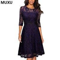 MUXU New Women Spring Elegant Sexy Crochet Lace Floral Mesh Dress Club Slim A Line