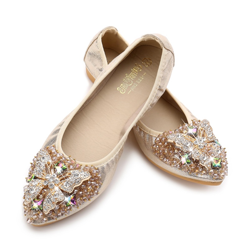 Fashion Women  Spring Summer Foldable Crystal  Butterfly-knotv Metal Decoration Ladies Flat Shoes  Pointed Toe Causal Slip On new 2017 spring summer women shoes pointed toe high quality brand fashion womens flats ladies plus size 41 sweet flock t179