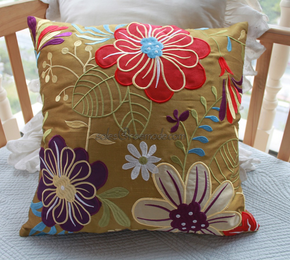 Colorful Applique Floral Poly Silk Pillow Embroidery