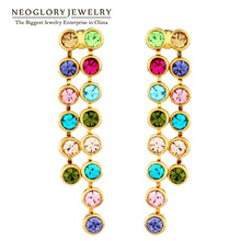 Neoglory Auden Rhinestone Round Beads Long Drop Earrings Geometric Colorful Chains Party Trendy Party Classic Daily Dress Lady