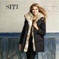Hot! Siti 2014 NEW luxo de alta qualidade mulheres 100% Real coelho casaco de pele com capuz moda preto 14DC019