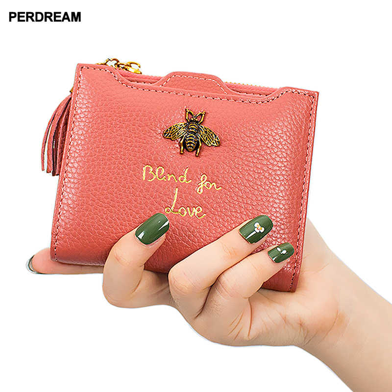 34e1ade479bd PERDREAM New Cowhide Coin Purse for Woman Short Square Bee Pattern ...