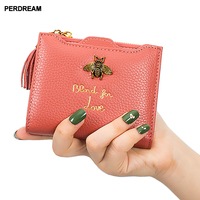 PERDREAM New Cowhide Coin Purse for Woman Short Square Bee Pattern Mini Wallet Litchi Tassel Clutch Bag Coin Pocket
