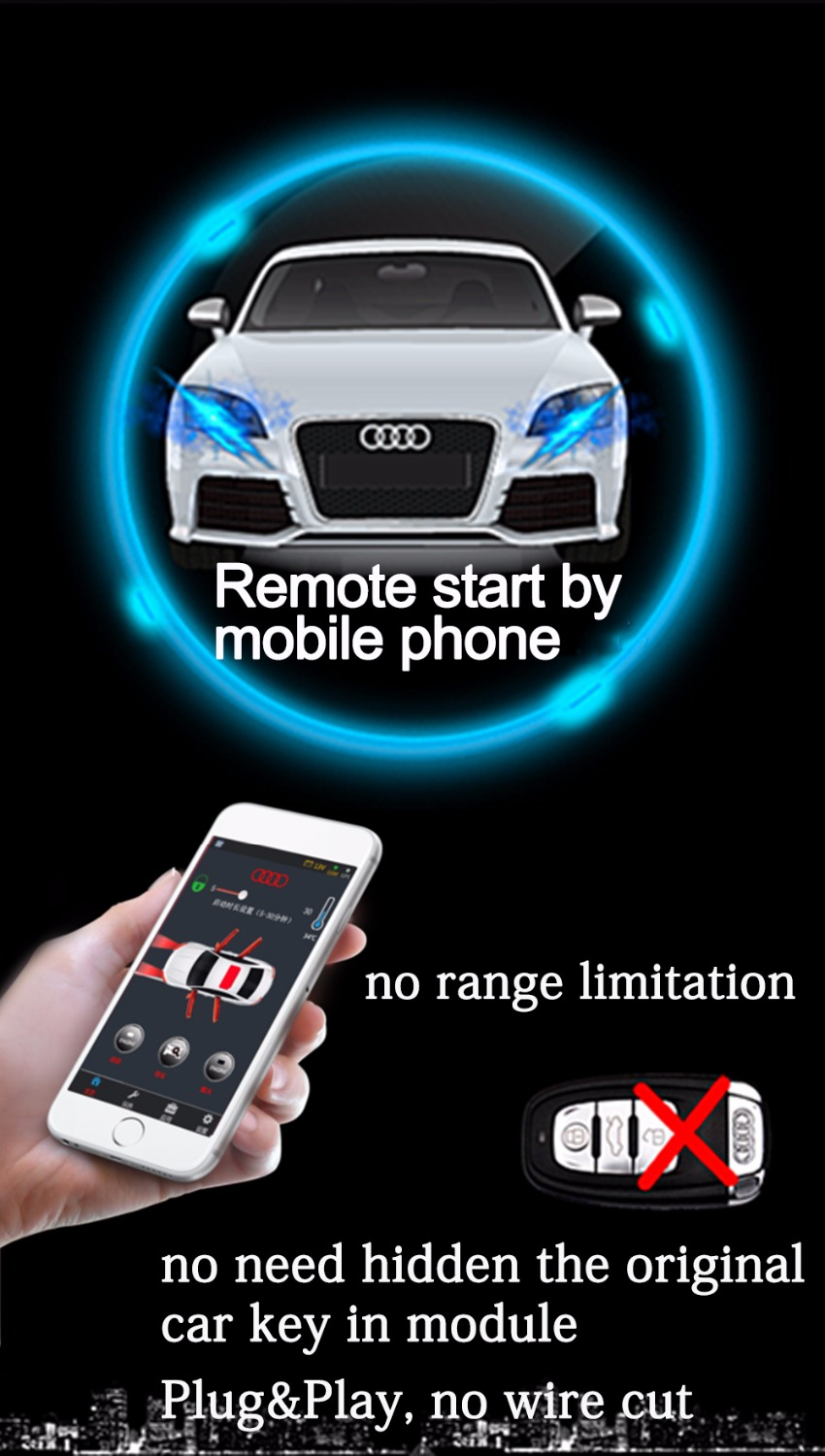 US $340 0 |Immobilizer Bypass Module for Audi A4L/allroad quattro Remote  Start the Engine Keyless Go GPS Tracker Work with Mobile Phone-in Burglar
