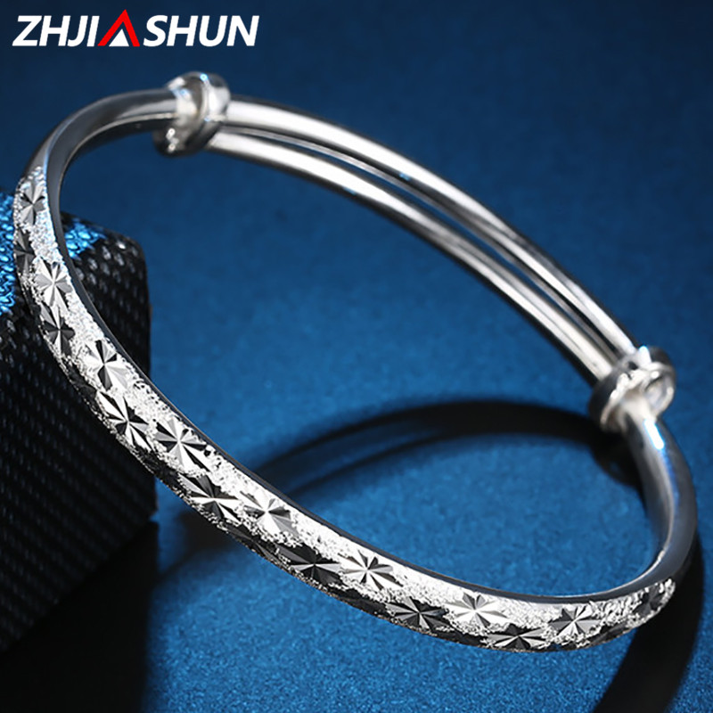 ZHJIASHUN Trendy Bracelet for Women 100% Pure 999 Sterling Silver Bangles for Female Ladies Fine Party Jewelries zhjiashun genuine 100