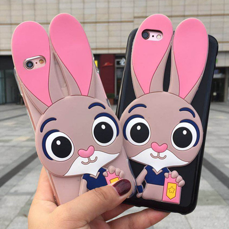 3D Cute Rabbit Phone Case For Motorola Moto G5 G5S G6 Play G7 Power P40 P30 One Plus Soft Silicone Cartoon Back Cover Cases