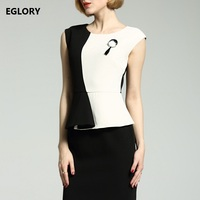 One Piece Dress New Brand Office Women Classic Black White Color Block Slim Fitted Bodycon Sheath