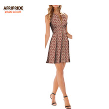 цена на 2018 women summer dress african print AFRIPRIDE sleeveless o-neck above knee length pleated casual dress zipper front A7225148