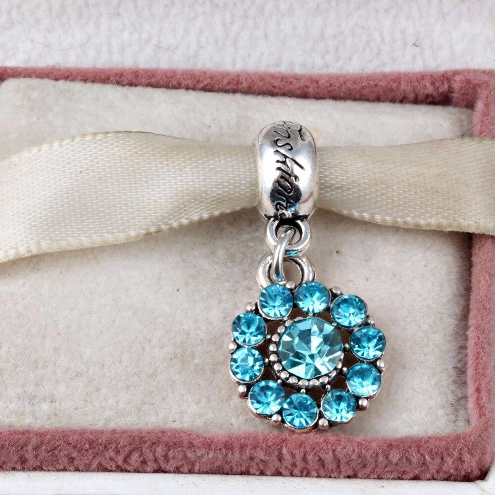 Blue Flower Full Crystal Charms Pendants Beads fit Pandora Charms Bracelet Fashion Diy Jewelry