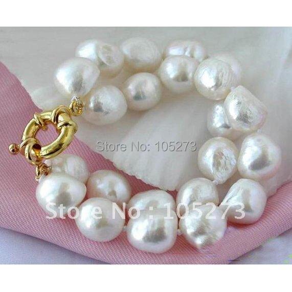 2 rangées 10-15 MM couleur blanche Baroque Shaper perle de culture d'eau douce Bracelet beau Style femmes bijoux offre spéciale FN1884