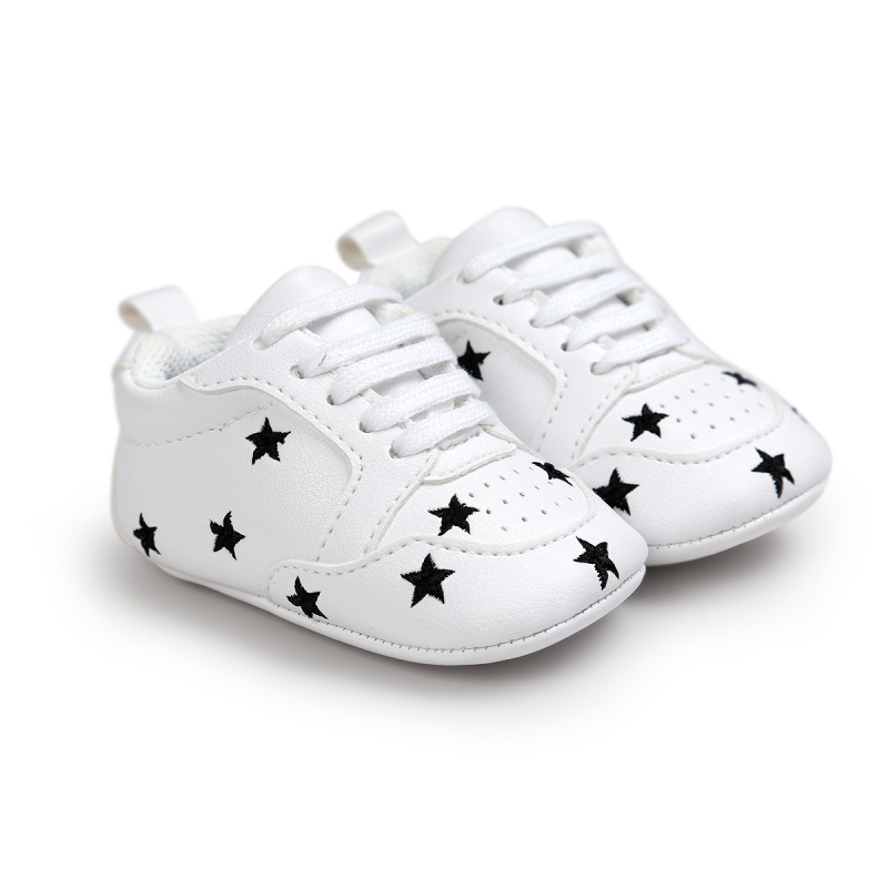 Baby Boys Shoes Sneakers Newborn Baby Girls Shoes Heart Star Pattern First WalkersToddlers PU Sneakers 0-18 Months