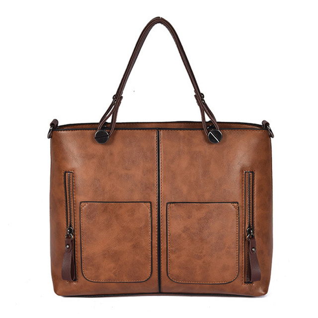 ZHIERNA 2018 Women Handbag Retro Shoulder Bag lady PU Leather Tote bag  Shoulder Bag Vintage style Shopping and work High Quality d3351e374040f