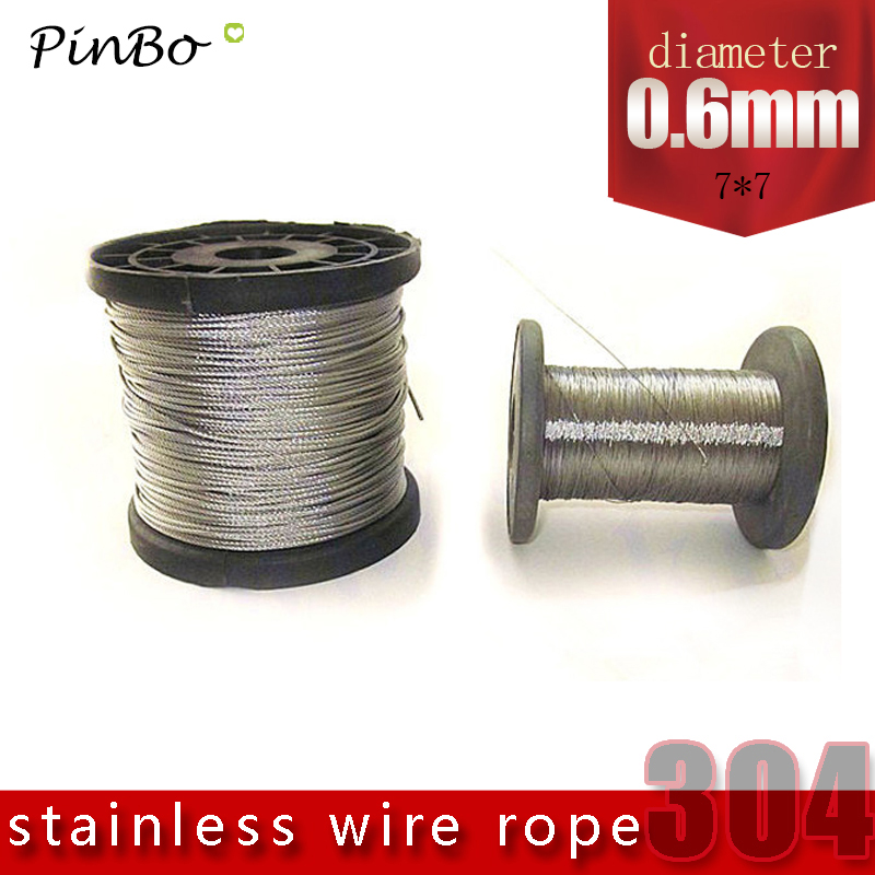 100M 304 stainless steel wire rope alambre cable softer fishing lifting cable 7X7 Structure 0.6mm diameter 1 2mm dia 7x7 5 2m long flexible stainless steel wire cable for grinder