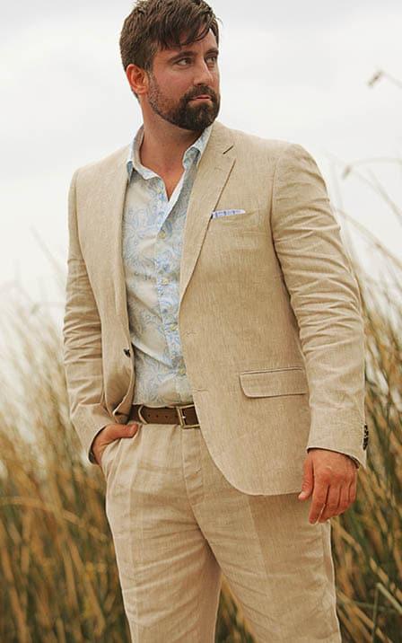 2018 Summer Beige Linen Suit Men Casual Groom Slim Fit 2 ...