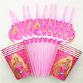 20pcs/set Barbie Party Supplies Drinking Straws Cups Cartoon Birthday Decoration Baby Shower For Kids Girl Barbie Party Supplies