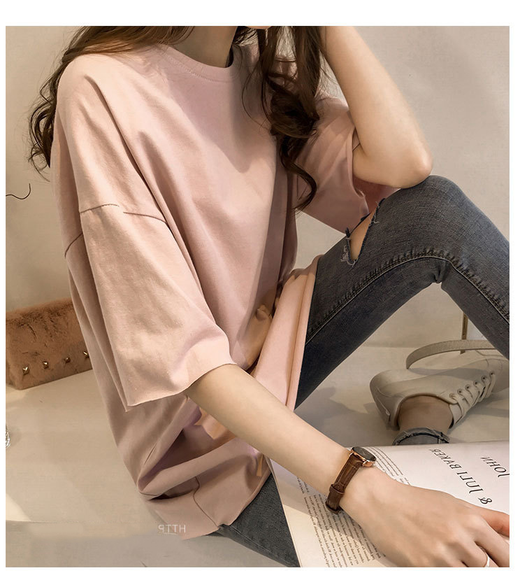 Candy Color Short Sleeve Loose T-Shirts Girls Summer 19 New Cool O-Neck Boyfriend Student Women T-Shirt Lady Tops Plus Size 32