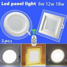 1pcs  Remote control dimmer palette glass led panel light LED Ceiling Recessed Light AC85-265V LED Downlight SMD 5730 6W12W18W