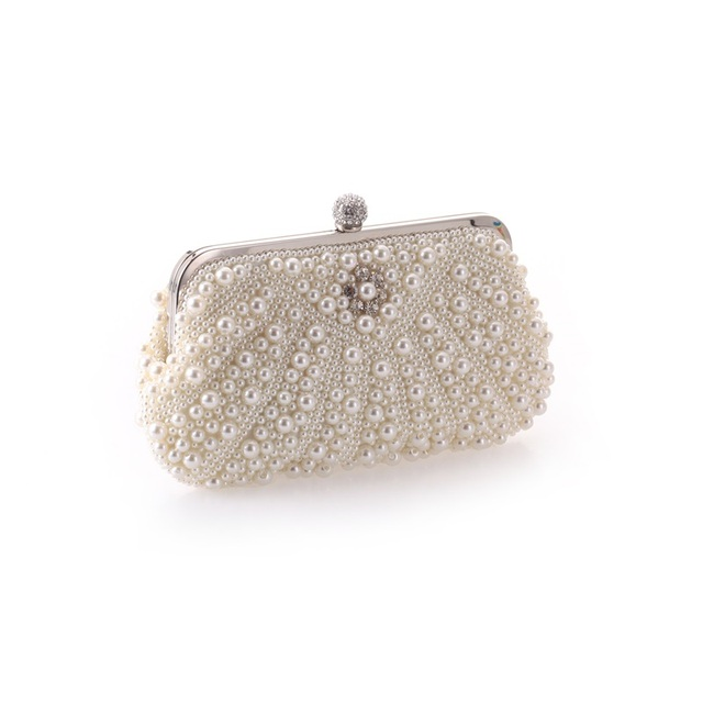 New Style Evening Bags Gorgeous Pearl Beading Handbags Women Clutch Wedding Bridal Fashion