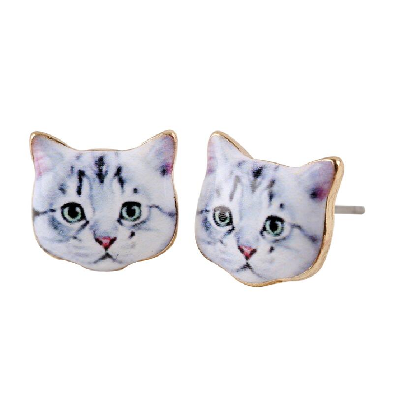 SMJEL New Fashion Cute Cat Animal Black Kitten Head Stud Earrings for Women Costume Jewelry Female Brincos Birthday Gift OED006
