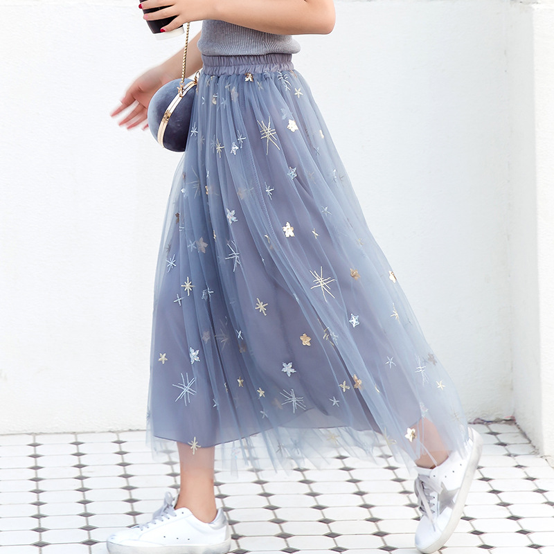 New Puff Women Mesh Tulle long Skirt Fashion Vintage Casual Pleated Floral Star Pattern Embroidery Elegant Female Tutu Skirts