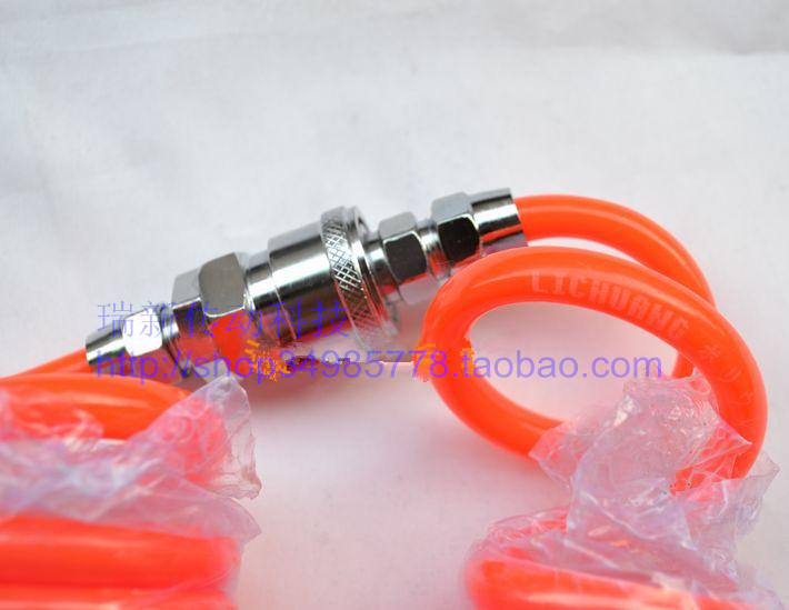 Tracheal Spiral tube PU10*6.5mm spring trachea quick connector Pneumatic Plastic Coil Tube Pipe Hose - Orange (15M-Length) 8mm tube to 8mm tube plastic pipe coupler straight push in connector fittings quick fitting