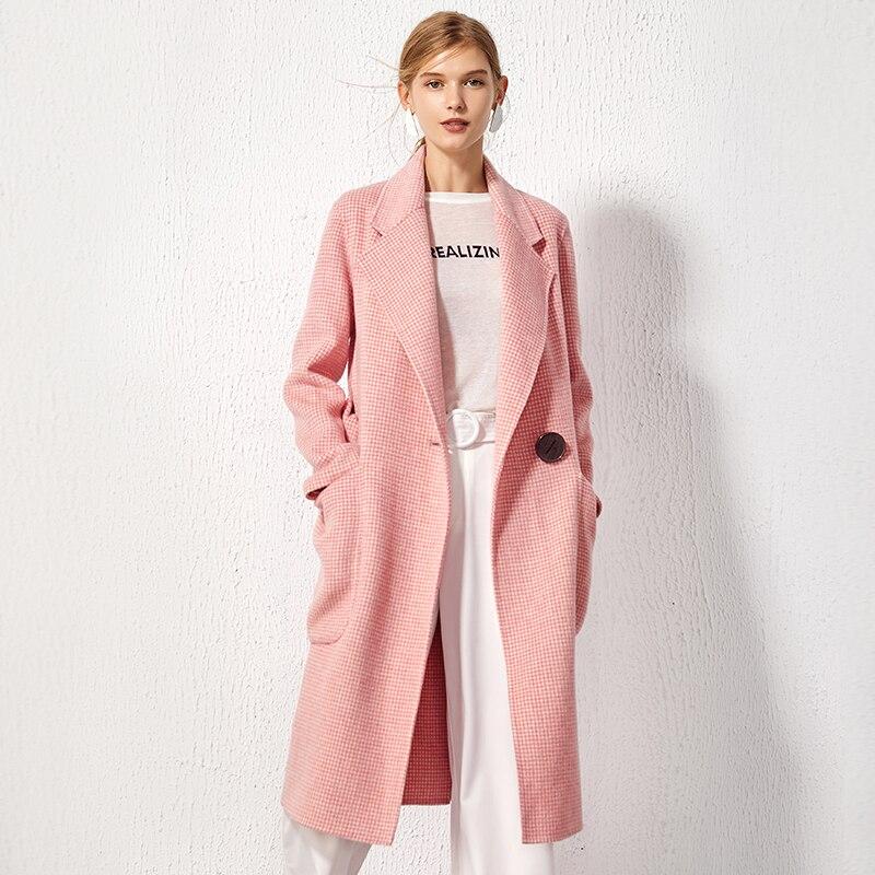 YOYOCATHY Turn-down Col Double Face manteau de laine D'hiver Femme Poule Manteaux Lâche Grande Poche 100% Laine Long Survêtement