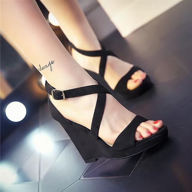 Women platform wedges sandals with open toe cross-tied with buckle strap women suede party shoes yellow nude black grey sandals  karinluna popular women sandals ankle strap buckle small bowtie crystal bordered wedges open toe platform party shoes for women