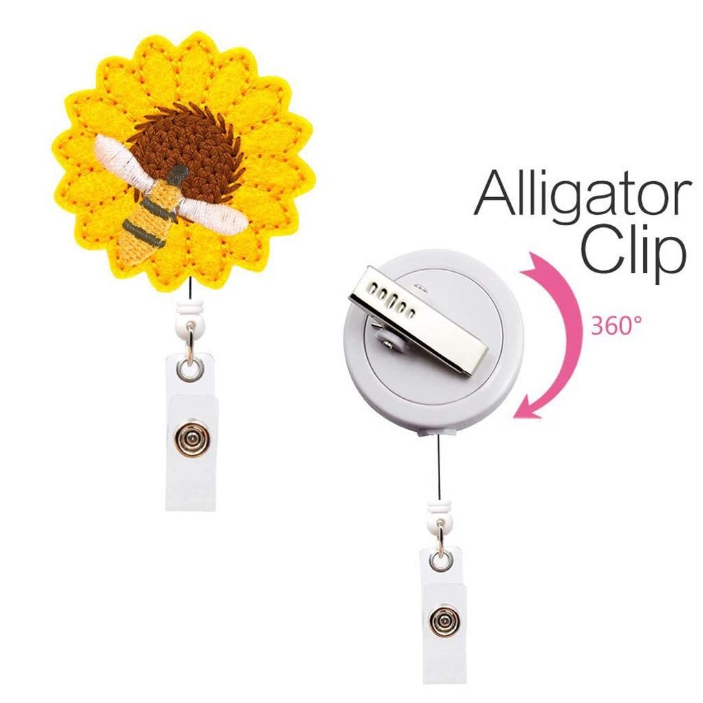 rose gold stripes retractable id badge reel holder key card