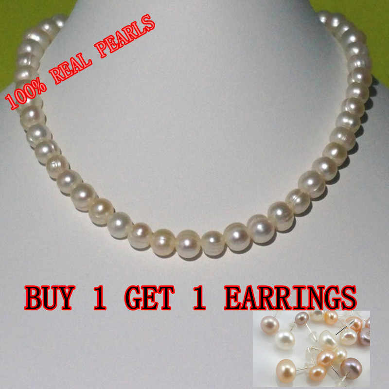 REAL PEARL 9-10mm Pearl Size 100% Genuine Freshwater Cultured Pearl Necklace for Nice Lady Female Gift Hot Sale