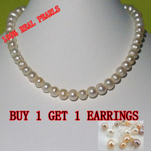 REAL PEARL 9-10mm Pearl Size 100% Genuine Freshwater Cultured Pearl Necklace for Nice Lady Female Gift Hot Sale(China)