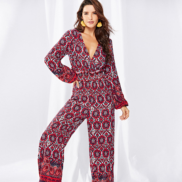 20af3275119a1 Rompers Womens Jumpsuit 2018 Printed V Neck Long Sleeve Overalls For Women  Elegant Large Sizes Wide Leg Pants Ladies Bohemian