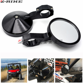 """4.7"""" Round Billet Side Rear View Mirrors 2"""" Clamp for Can am Commander Maverick for Polaris RZR XP1000 RZR900 XP 4 UTV"""