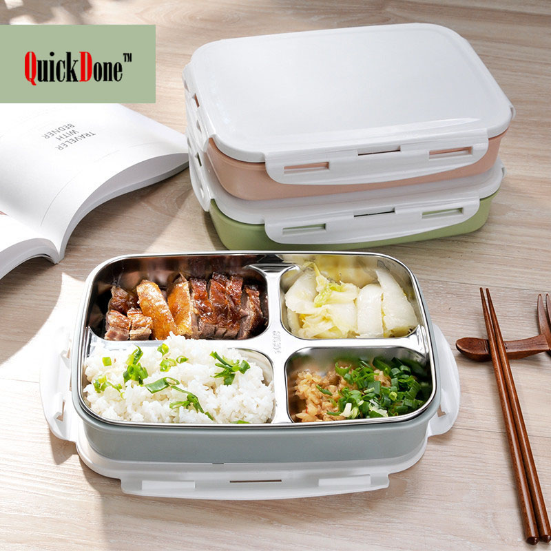 QuickDone Stainless Steel Lunch Bento Boxes Leak-proof Can Used For Microwave Food Container Large Capacity Dinnerware AKC6118