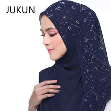 New Muslim scarf hijab bufanda mujer scarves pearl chiffon hot bit towel small leaves women