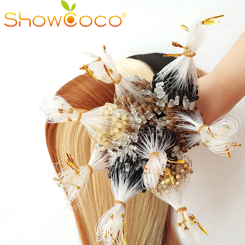 Micro Ring Human Hair Extensions Silky Straight Loop Micro Ring Keratin Russian Hair Machine Remy ShowCoco 0.5g/s 100g 200pieces
