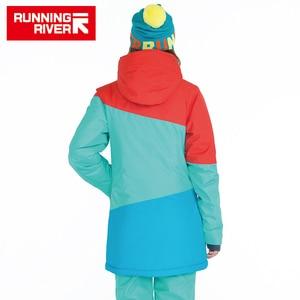 Image 2 - ランニング川ブランド女性スノーボードジャケット用冬暖かい半ば太もも屋外スポーツ服高品質スポーツジャケット# A6042