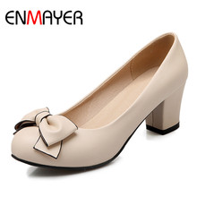 ENMAYER High Heels Round Toe Pumps Shoes Woman Bowties Charms Slip-on Plus Size 34-43 Black Pink Beige Casual