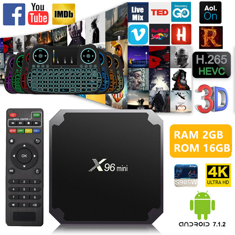 X96mini Android 7.1 Smart TV BOX 1/2 gb di RAM 8/16 gb di ROM Amlogic S905W Quad Core h.265 4 k 2.4g WiFi Set-top box + Cavo IR x96 mini
