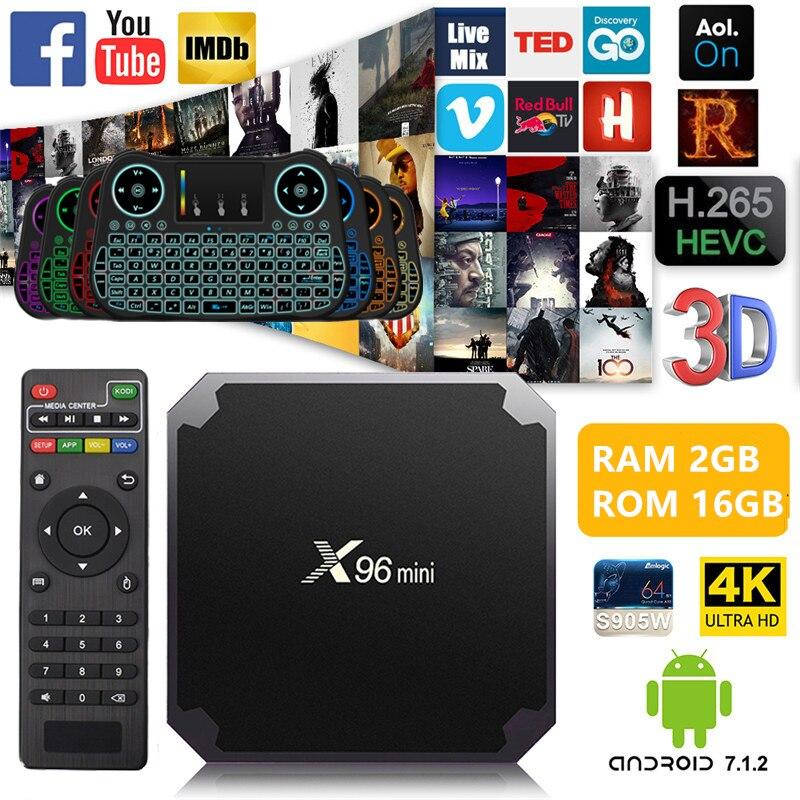 X96mini Android 7.1 X96 mini Smart TV BOX 1GB + 8GB 2 GB +16 GB S905W Quad Core compatible con 4 K 2,4 GHz WiFi inalámbrico WIFI TV caja