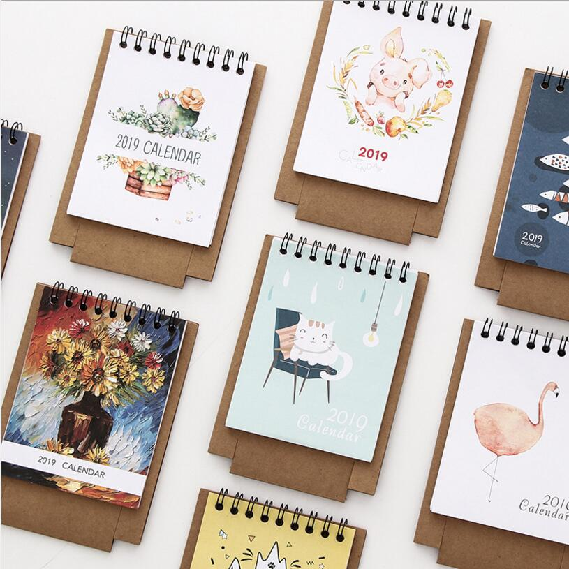 Calendar 2019 Cute Cartoon Characters Desktop Paper Calendar dual Daily Scheduler Table Planner Yearly Agenda Organizer