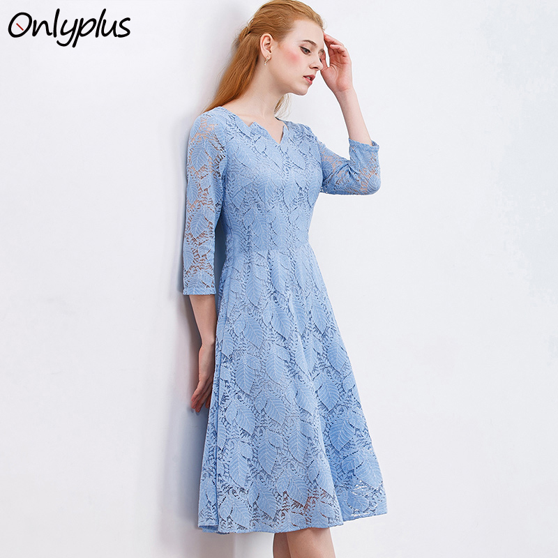 ONLY PLUS S-XXL Sky Blue Lace Dress Casual Women Leaf Pattern Slim Midi Party Dresses A-Line Three Quarter Sleeve Dress