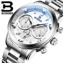 Original Switzerland White gold case men luxury Quartz watch Army Brand Binger watches big digital wristwatch male