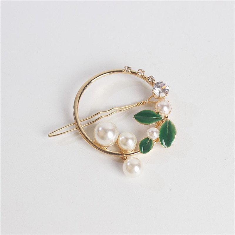 2019-New-Fashion-Women-Girls-Gold-Green-Leaf-Metal-Circle-Moon-Hair-Clips-Alloy-Round-Pearl (1)