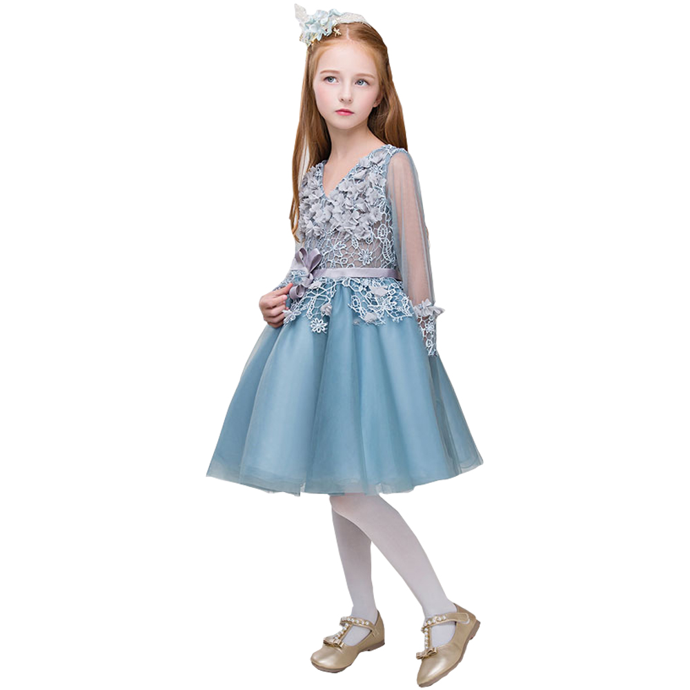 A-Line Mother Daughter Dresses Lace Flower Girls' Dresses Crew Neck Knee Length Mint Tulle Girls Wedding Party Gowns Dresses цена 2017