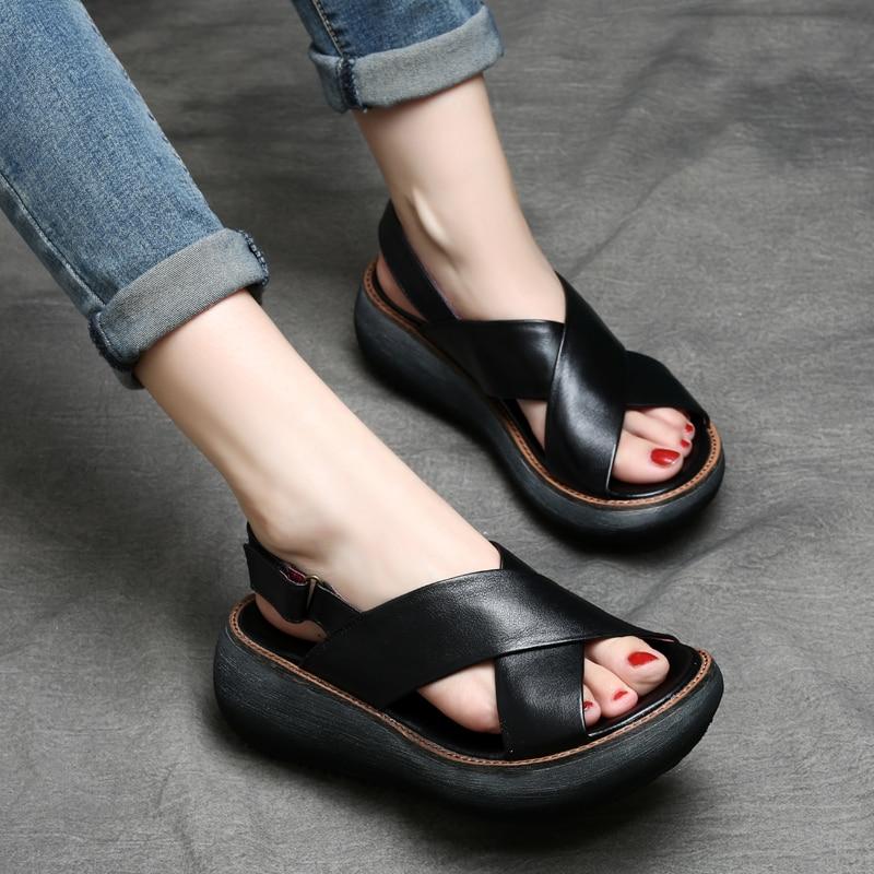Tyawkiho Véritable En Cuir sandales femmes 2018 décontracté Noir Chaussures D'été 6 CM souliers à talons hauts En Cuir Souple chaussures pour femmes À La Main