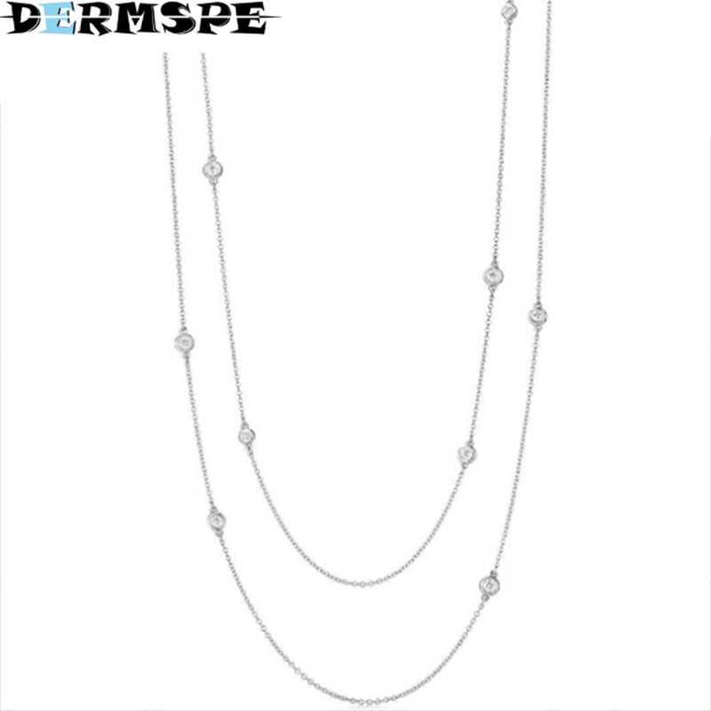 DERMSPE TIFF 925 Sterling Silver Elegant Zircon Drop Necklace Ladies Glamour Fashion Clavicle Zirconia Clavicle Chain 925 sterling silver diamond dream catcher necklace fashion simple clavicle chain c03