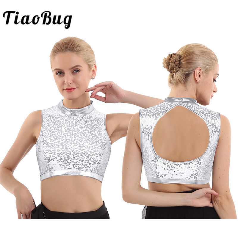 TiaoBug Fashion Sleeveless Dazzling Glitter Sequins Mock Neck Hollow Back Festival Rave Club Party Dance Costume Women Crop Tops