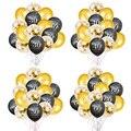 15 stücke 30 40 50 60 geburtstag luftballons gold schwarz glücklich geburtstag erwachsene ballon Jahrestag geburtstag Konfetti globos balony